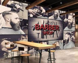 Beibehang Custom Living Room Bedroom Stylish Barbershop Background walls wallpap - $35.95