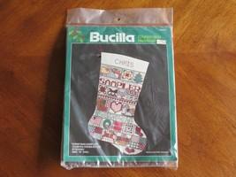 Bucilla Country Christmas Sampler Cross Stitch Stocking 82433 Polly Carbonari - $12.34