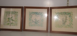 """Set of 3 Wooden Framed Kitchen Wall Plaques """"Sweet Herbs"""" Rosemary, Sage... - $21.17"""