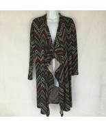 Almost Famous Chevron Cascade Knit Cardigan Open Front Long Sleeve Hoode... - $22.99
