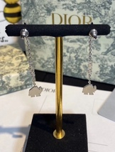 AUTH CHRISTIAN DIOR 2020 WHITE CRYSTAL DIORABLE ELEPHANT SILVER DANGLE EARRINGS image 12
