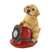 Dog and Fire Helmet Solar Statue - $37.14