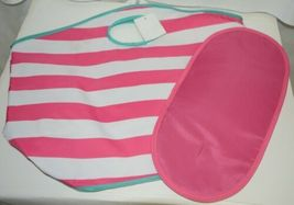 Viv And Lou Large Pink White Striped Beach Tote Bag Polyester image 3