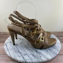 Cole Haan NikeAir Tan Leather Strappy Horsebit Slingback Heels Womens Size 8 - $29.95