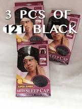 LOTS OF 3 QFITT SUPER JUMBO SATIN SLEEP CAP # 121 BLCAK COLOR