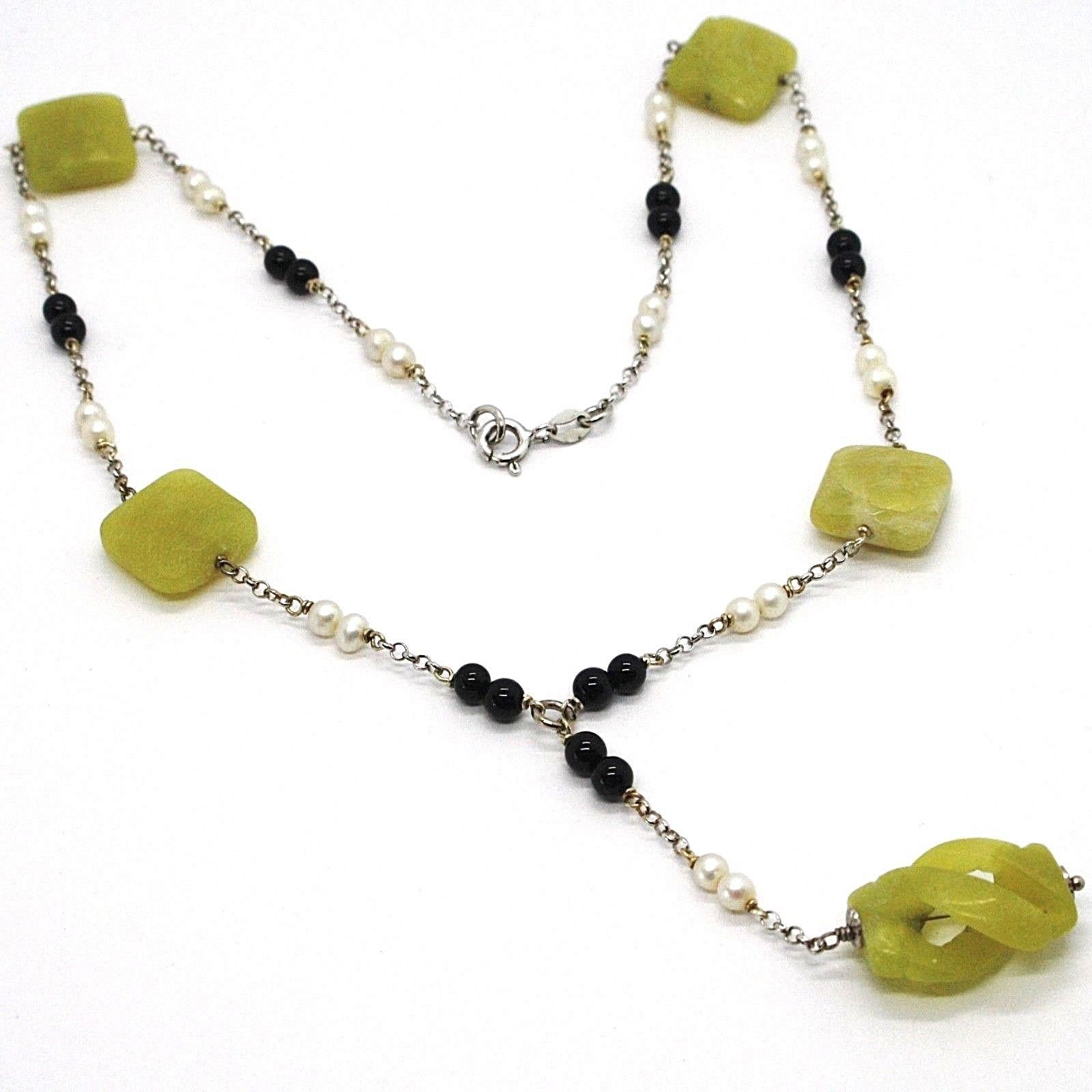 SILVER 925 NECKLACE, ONYX BLACK, JASPER GREEN, PEARLS, WITH HANGING CHARM