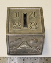 Vintage Silver Plated Childs Block Bank ABCD 1234 Raimond Co Japan Well ... - $10.00