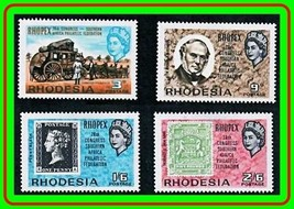 RHODESIA 1966 RHOPEX STAMP SHOW SC#237-40 MNH HORSE COACH, BLACK PENNY (... - $1.28