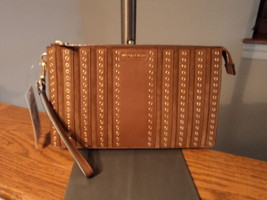 Authentic Michael Kors Brooklyn Grommet Large Wristlet Wallet Purse Dark... - $98.99