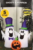 Halloween Airblown Inflatable-Ghosts And Pumpkin 5 Ft Friendly Yard Decor - $42.05