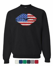 Patriotic Lips Sweatshirt Sexy Kiss Stars and Stripes 4th of July Sweater - $15.87+