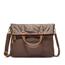 NWT Fossil Explorer Fold Over Tote Espresso Brown Pebble Leather SHB1521206 - $159.99