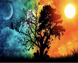 USA - DIY Paint by Number Kit Acrylic Painting Home Decor - Moon And Sun... - $18.80
