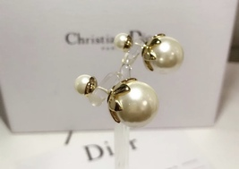 SALE! Auth Christian Dior Mise En Dior Tribal Petal Gold Double Pearl Earrings image 5