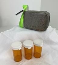 Coach Pill Box Case Metallic Silver Zip Around  J2 - $34.29