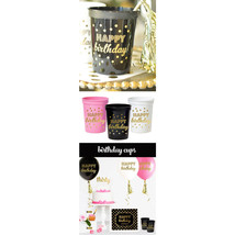"""FREE SHIPPING Gold """"Happy Birthday"""" Party Cups (set of 25) Birthday Deco... - £14.38 GBP"""
