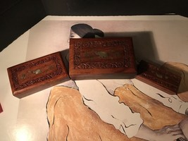 Antique Rosewood Boxes With Brass Inlay. Each Smaller Goes In There Other. - $34.65
