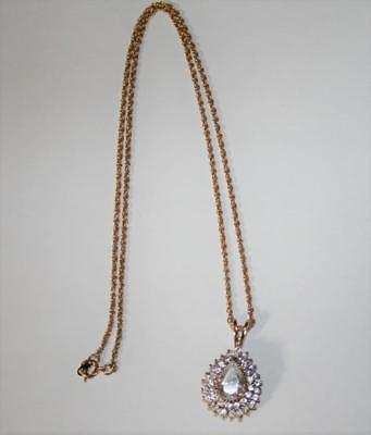 Lind HGE Gold Tone CZ Cluster Pendant Necklace  J266