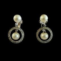 Vintage Trifari Crown Signed Pearl Silver Tone Clip On Earrings Drop Dan... - $34.64