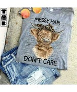 Bison Wearing Headband Messy Hair Don't Care Ladies T-Shirt Cotton S-3XL - $19.75+