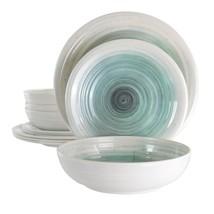 Elama Potters Wheel 12 Piece Lightweight Melamine Dinnerware Set in Ligh... - $51.00