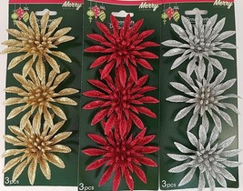 "Christmas Ornament Glitter Poinsettia Clips 3.3"" 3 Ct/Pk, Select: Gold S... - $2.99"