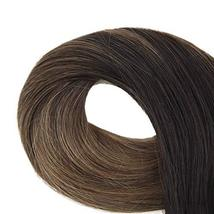 Easyouth 14inch Adhesive Tape in Hair Extensions Balayage Color 2 Dark Brown Fad image 10
