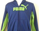 Puma Boys Large Athletic Warm Up Jacket Full Zip Blue Green Soccer Track Golf