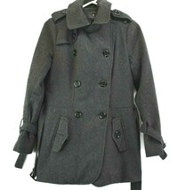 Forever21 Women's Small Wool Blend Double-breasted Peacoat Jacket Charcoal - $29.99