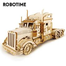 286pcs Classic DIY Movable 3D America Heavy Truck Wooden Model Building ... - $78.99