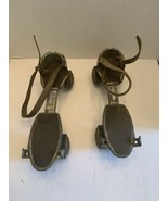 Vintage 1950's metal outdoor roller skates Roll King with leather straps... - $11.50