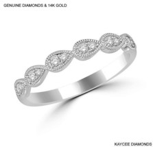 0.20 Carat Genuine Diamond Stackable Band in 14k White Gold