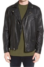 Mens Black Retro Bespoke Fashion Leather Jacket Real Cowhide Men Leather Jacket - $118.60+
