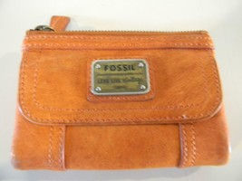 Fossil Long Live Vintage 1954 Woman's Trifold Leather Wallet Pumpkin Orange - $19.34