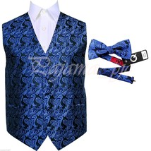 Royal Blue XS to 6XL Paisley Tuxedo Suit Dress Vest Waistcoat & Bow tie ... - $20.77+