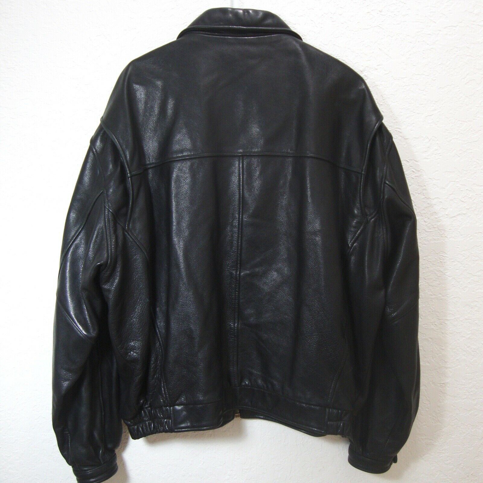 ANDREW MARC Black Leather Bomber Jacket Distressed Lined Zip Up Motorcycle XL image 2
