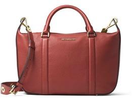New Michael Michael Kors Women Raven Leather Large Satchel Bag Brick - $274.39