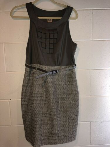 Primary image for anne klein dress Size 10 Gray Sleeveless With Belt.