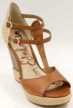 Sam Edelman Katarina Brown Leather Wedge Women's Sandals Shoes Sz 7.5 M - $34.19