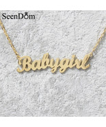 Lovely Gift Gold Color Babygirl Name Necklace Stainless Steel Nameplate ... - $17.98