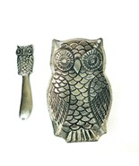 "Metal Owl Cheese Tray & Spreader Knife Set 7"" Vintage Silver Toned Party... - $24.98"