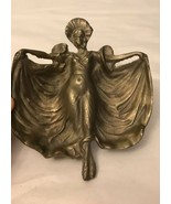 Art Lady w/ Flowing Dress High Relief  Brass Tray Trinket Dish - $94.05