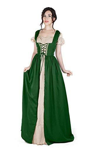 Boho Set Medieval Irish Costume Chemise and Over Dress (2XL/3XL, Hunter Green/Sa