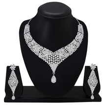Silver Plated Indian Fashion Costume Jewelry Diamond Necklace Set Party Wedding - $23.54