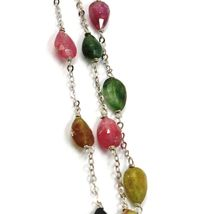 18K WHITE GOLD NECKLACE, PURPLE GREEN YELLOW DROP TOURMALINE, ROLO CHAIN image 3