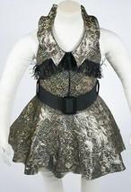 DANCE RECITAL TUTU TAP BALLET GIRLS CHILD SIZE XS 2 3 COSTUME GOLD BLACK... - $18.80