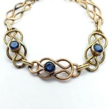 "Carl Art Vintage 12k Gold-Filled Blue Rhinestone Bracelet 7.5"" FREE Shipping image 2"