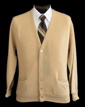 Vintage 70s Men's Khaki Button Front Grandpa Cardigan Size Medium to Large - $49.99