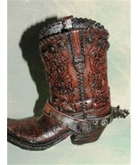 Western Resin Cowboy Boot Collectible Plant Pen Holder Zipper Boot Free ... - $9.74