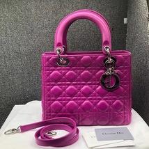 AUTH Christian Dior Lady Dior Medium Fuchsia Pink Cannage Lambskin Tote Bag SHW image 1